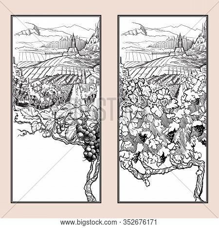 Vinyard In Tirol Alps, Austria. Set Of Two Vertical Banners. Vintage Design. Linear Sketch Isolated