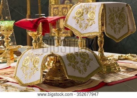Donetsk, Ukraine. 2020, January 7. Holy Communion. Golden Chalices With The Sanctified Body And Bloo
