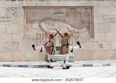 Changing Of The Guard On Syntagma Square In Athens, Greece