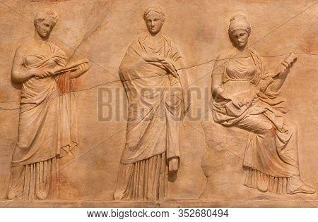 Ancient Bas-relief Depicting Delian Chief Triad Of Leto (mother), Artemis (daughter) And Apollo (son