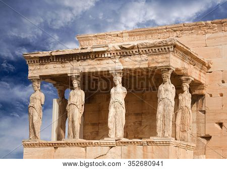 Porch Of The Caryatids At Famous Ancient Erechtheion Greek Temple On The North Side Of The Acropolis