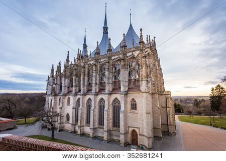 St. Barbara Cathedral In Kutna Hora, Jewel Of Gothic Architecture And Art Of Czech Republic. Kutna H
