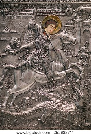 Kalambaka, Greece - March 17, 2018: Ancient Painting With Saint George From Meteora Church, 17-th Ce