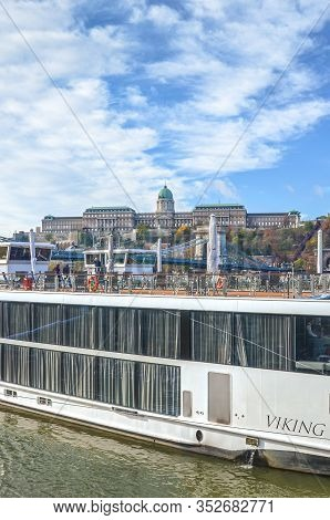 Budapest, Hungary - Nov 6, 2019: Part Of A Huge Cruise Ship On The Danube River In The Hungarian Cap