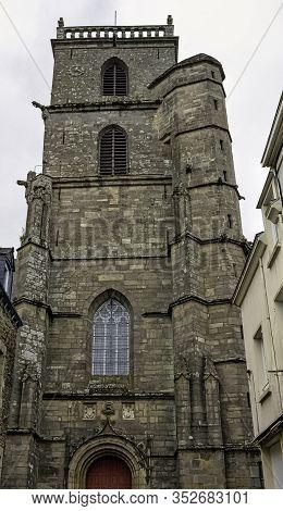 Ploermel, Brittany, France - May 30: Saint-armel Parish Church (eglise Saint Armel) On 30 May 2019 I