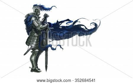 Medieval Knight With Long Sword. Tired Proud Knight At The Post Ealistic Isolate Illustration.