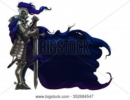 Knight Swordsman. Medieval Knight In Blue Cloak. Realistic Illustration Isolate. Tired Proud Knight