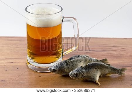 Still Life Photography Banner, Food On The Table, Beer In A Glass, Bottles, Beer Snack, Bread Crumbs
