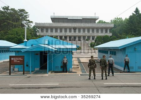South Korean Soldiers In Dmz Watching Border Between South And North Korea