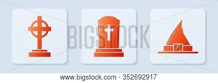 Set Tombstone With Cross , Tombstone With Cross And Witch Hat . White Square Button. Vector