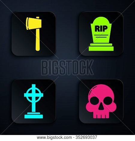 Set Skull , Wooden Axe , Tombstone With Cross And Tombstone With Rip. Black Square Button. Vector