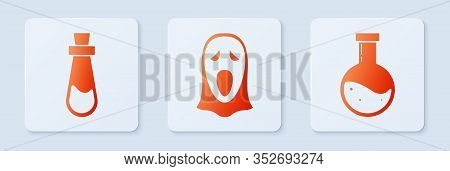 Set Funny And Scary Ghost Mask For Halloween , Bottle With Potion And Bottle With Potion . White Squ