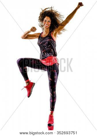 one african mixed race mature woman cardio dancer dancing fitness exercises in studio isolated on white background
