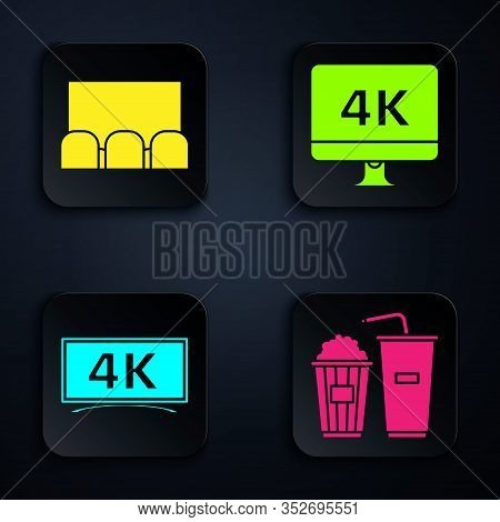 Set Popcorn And Soda Drink Glass, Cinema Auditorium With Screen And Seats , Screen Tv With 4k Ultra