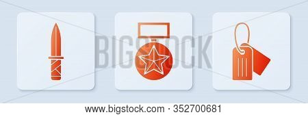 Set Military Reward Medal , Military Knife And Military Dog Tag . White Square Button. Vector