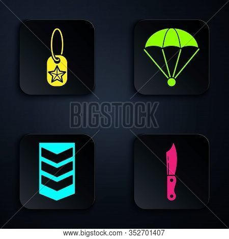 Set Military Knife , Military Dog Tag , Military Rank And Parachute . Black Square Button. Vector