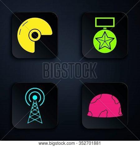 Set Military Helmet , Military Helmet , Radar And Military Reward Medal . Black Square Button. Vecto