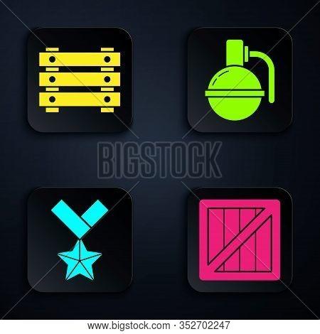 Set Military Ammunition Box, Military Ammunition Box, Military Reward Medal And Hand Grenade . Black