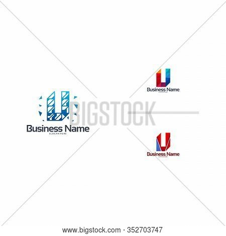 Abstract Modern U Pixel Initial Logo Designs Vector Template