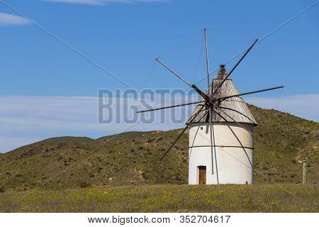 Traditional White Windmill, Windmill Traditional In Spain, Pozo De Los Frailes, Province Of Almeria,