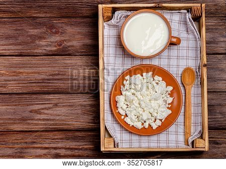 Homemade Fermented Milk Products - Kefir, Cottage Cheese In A Tray On A Wooden Background, Copy Spac