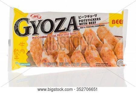 Winneconne,  Wi - 16 February 2020:  A Package Gyoza Potsticker Dumplingsof  On An Isolated Backgrou