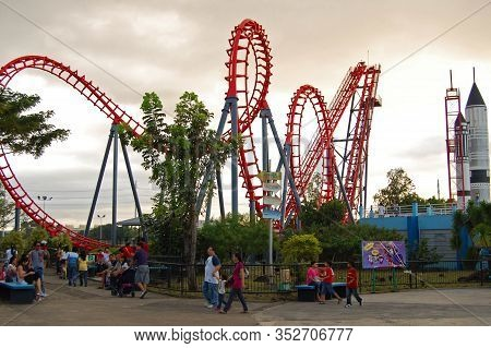 Laguna, Ph - Nov 7: Enchanted Kingdom Theme Park Space Mountain Roller Coaster Twisted Railings On N