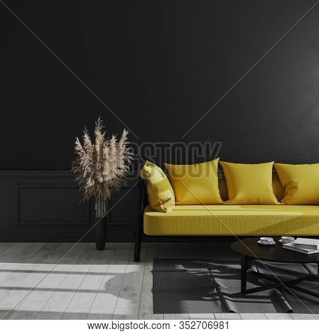 Living Room Modern Interior With Black Wall, Yellow Sofa And Pampas Grass, Luxury Dark Interior Back