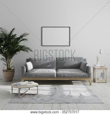 Blank Horizontal Picture Frame Mock Up In Modern Minimalist Living Room Interior With Gray Sofa And