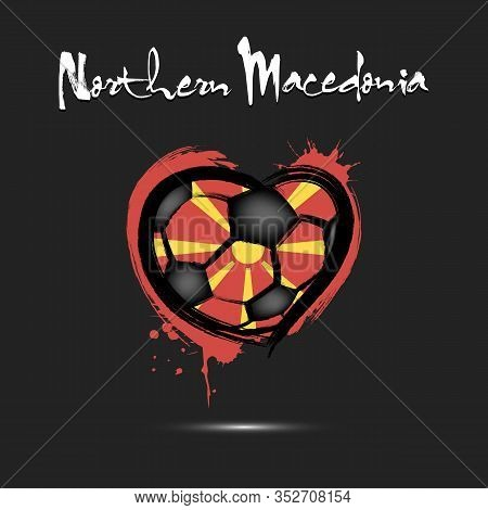Abstract Soccer Ball Shaped As A Heart Painted In The Colors Of The Northern Macedonia Flag. Flag No