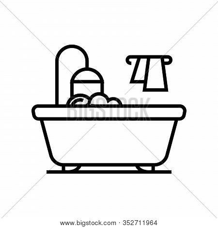 Bath Line Icon, Concept Sign, Outline Vector Illustration, Linear Symbol.