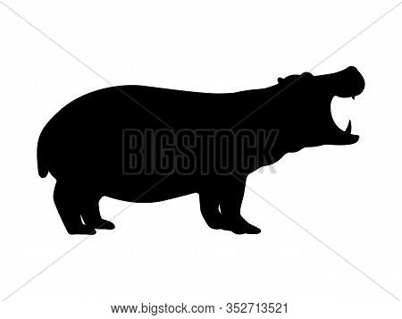 Hippo Silhouette. Vector Illustration Of A Dangerous Growling Hippo Silhouette Isolated On A White B
