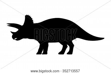 Triceratops Silhouette. Vector Illustration Black Silhouette Of A Triceratops Dinosaur Isolated On A