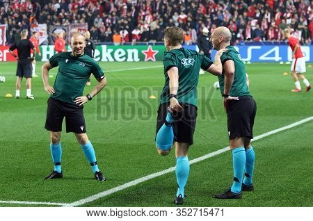 Prague, Czechia - October 23, 2019: Referee Bobby Madden (r) And Assistants Graeme Stewart (c) And D