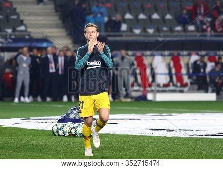 Prague, Czechia - October 23, 2019: Midfielder Frenkie De Jong Of Barcelona Seen During Training Ses