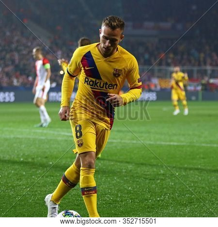 Prague, Czechia - October 23, 2019: Arthur Of Barcelona In Action During The Uefa Champions League G