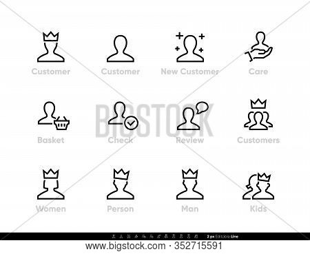 Customer Icons, New Buyer With Crown Vector Pictogram. User And Account. Editable Line Set On White