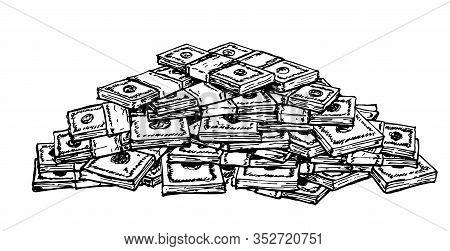 Big Pile Of Money American Dollar Bills. Sketch Illustration. Vector Illustration, Heap Of Cash, Pac