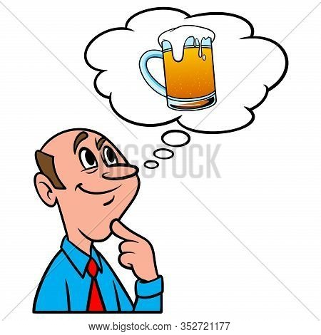Thinking About A Frosty Mug Of Beer - A Cartoon Illustration Of A Man Thinking About A Cold Frosty M