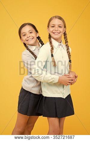Cheerful Mood Concept. School Friendship. Support And Friendship. Friendly Relationship. Friendship
