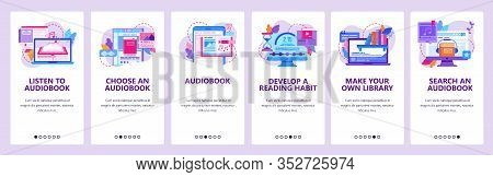 Audiobook Mobile Phone App. Audio Books Digital Library. Onboarding Screens. Reading And Listen Onli