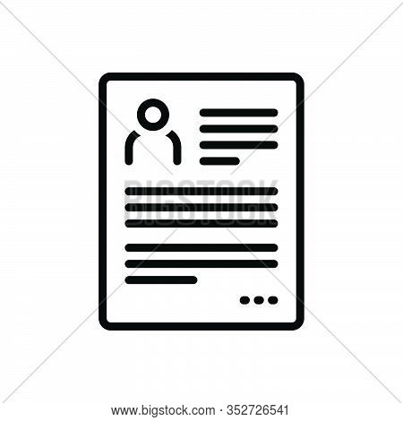 Black Line Icon For Resume Continue Go-on Proceed Regain Elaboration Summary Reoccupy Detail Expansi
