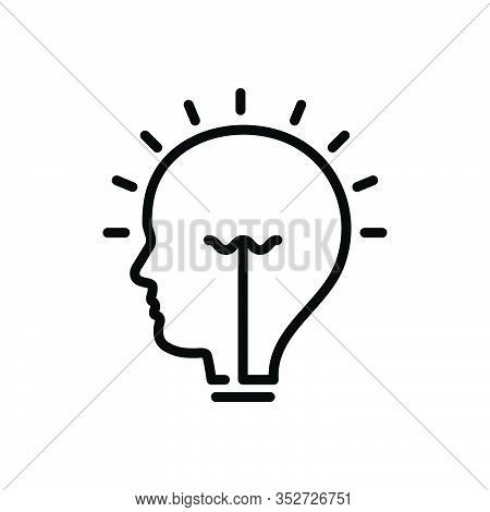 Black Line Icon For Idea Conclusion Enterprising Visionary Concept Consideration Opinion Thought Sug
