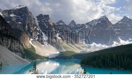 Close Up Of Mountains At Moraine Lake In Canada