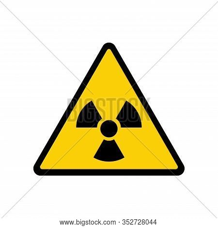 Sign Toxic. Warning Radioactive Zone In Triangle Icon Isolated On White Background. Color Radioactiv