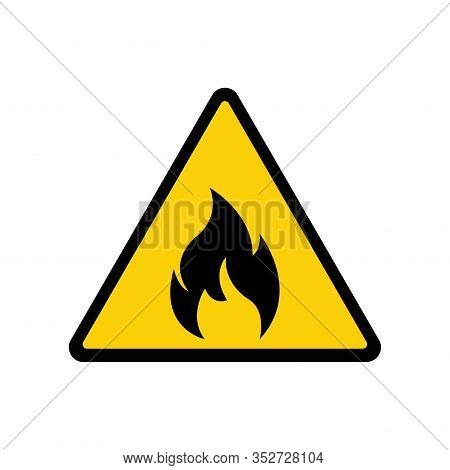 Fire Warning Sign On White. Fire Warning Sign In Yellow Triangle. Flammable, Inflammable Substances