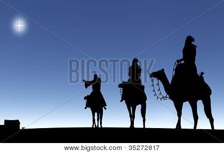 Three Wise Men Following A Star