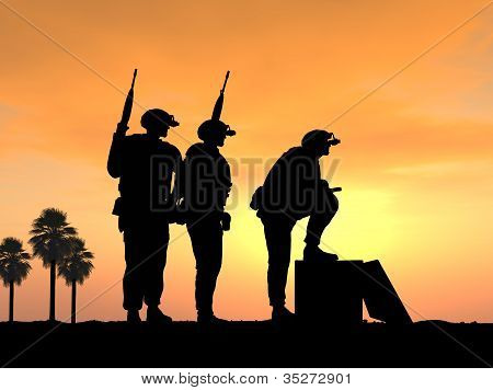 Soldiers Ready and Alert for Battle