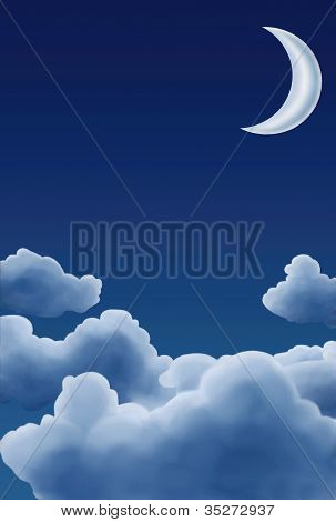 Moon with Painted Clouds
