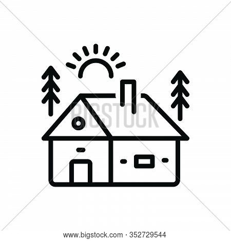 Black Line Icon For Cabin Cottage Shack Hovel Arbour Wood Mountain Hut Hill